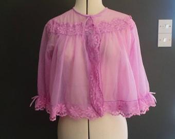 Vintage lilac chiffon bed jacket