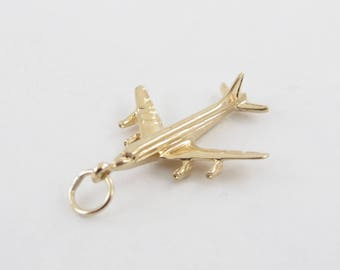 Vintage 14k Yellow Gold plane Charm, 14k Airplane Pendant 707 Jet, 14k charms