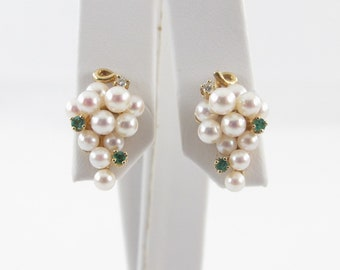 14K Yellow Gold Pearl Earrings, 14k Gold Pearl Diamond And Emerald Earrings, Pearl Stud Earrings