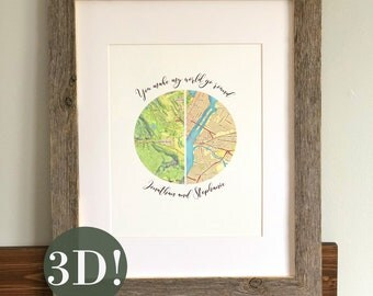 Anniversary Gift - Paper Anniversary, Dating Anniversary, Long Distance Relationship, Map Art, You Make my World Go Round