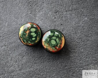 Green galaxy ear plugs wooden gauges 4,5,6,8,10,12,14,16,18,20,22,24,26,25-60mm;6g,4g,2g,0g,00g;1/4,5/16,3/8,1/2,9/16,5/8,3/4,7/8,1 1/4,1""