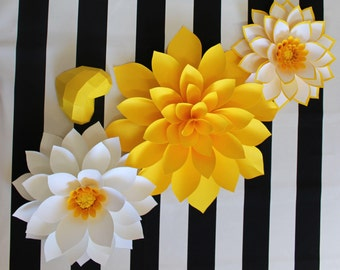Nursery wall paper flowers, yellow paper flower backdrop, Paper flowers over the crib, Paper flower backdrop, paper flower photo wall