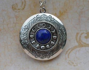 Silver Lunar Cycle Locket with Lapis Lazuli