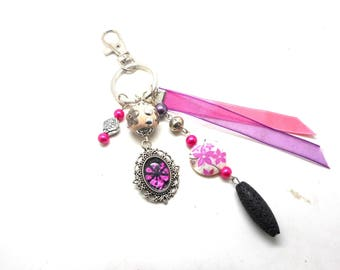A scent! silver plated bag charm, pink flower beads