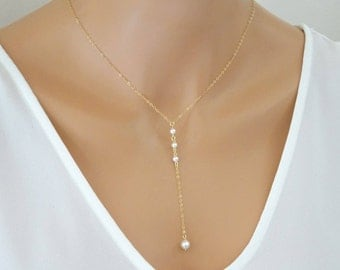 Pearl lariat necklace, Bridal pearl y necklace, wedding jewelry, Bridesmaid Necklaces, Sterling silver , Gold fill, Rose gold