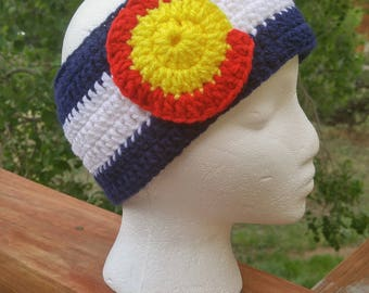 Colorado Flag Ear warmer headband, Crochet Ear warmer headband, Ear Warmer, Headband, Winter Headband, Handmade, Crochet