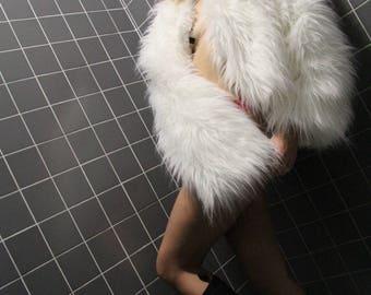 Follow the white rabbit fur - white faux fox fur jacket - MADE TO ORDER