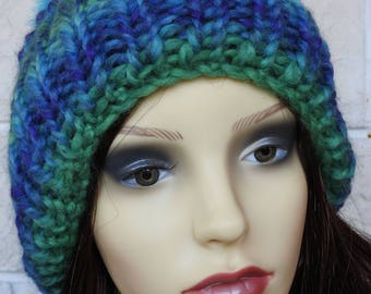 Hand Knitted Women's Blue And Green Random Ribbed Winter Hat With A Blue And Grey Pompom - Free Shipping