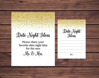Date Night Ideas, Bridal Date Night Ideas, Gold Confetti Bridal Instant Download PDF Printable 207