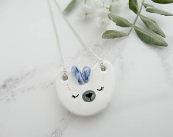 Polar Bear Necklace, Ceramic Necklace, Animal Necklace, Bear Jewelry, Ceramic Animals, Cute Jewelry, Totem Jewelry, Bear Totem, Animal Totem