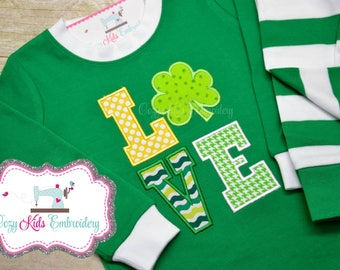 St. Patrick's Day pajamas, Saint Patricks Day Pajamas, St Patty Pajamas, Green Pajamas, Love, Applique, Embroidery