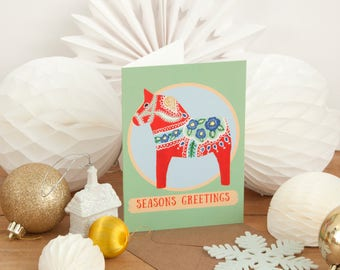Dala Horse Christmas Card | Pack of 4 Cards | Season's Greetings | Scandi Christmas | Swedish Dala Horse Cards | Christmas Card Multipack