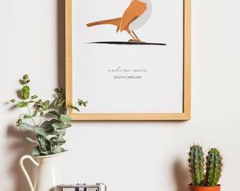 South Carolina state bird art, State Art, Bird print, Nature art, Wall decor - CAROLINA WREN