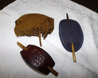 Vintage, Tooled Leather, Bun Clip, Suede Leather, Hair Pins, Fringe Leather, Hair Clips, Horses, Gift for Her, Rustic, Hair Accessories, Lot