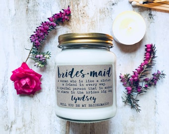 Personalised be my Bridesmaid Scented Candle, Bridesmaid gift, be my Bridesmaid, personalised Bridesmaid gift, Bridesmaid Proposal