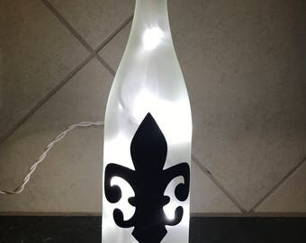 Fleur-de-lis Lighted Wine Bottle