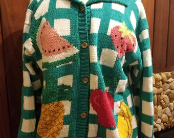 Teal and White Checkerboard Fruit Sweater by Lumy, Size L