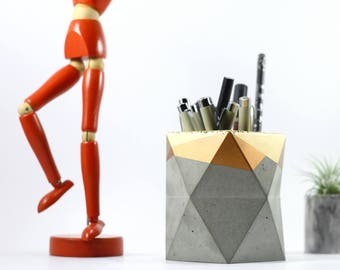 Geometric Concrete Pencil Holder // Pencil Cup // Desk Organizer (Gold & Copper)