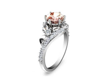 Half Eternity Morganite Engagement Ring 14K White Gold Morganite Ring Half Eternity Diamond Ring