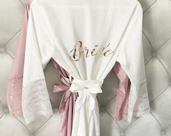 Rose Gold Bride & Bridesmaids Robes, party robes, satin and lace robes