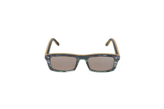 Lunettes de soleil 7PLIS #289 skateboard recyclé #CURB bleu noir vert     verre gris miroité catégorie 3