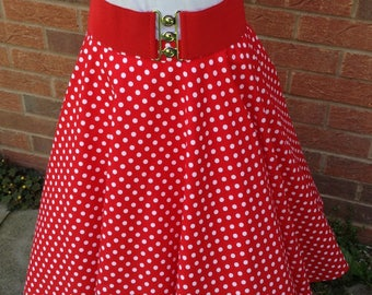 Full circle retro vintage style skirt UK size 26 red polka dot swing skirt, rock n roll reenactment fifties rockabilly handmade skirt