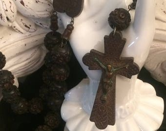 "Antique 50"" Wood Wall Rosary - Sainte Anne de Beaupre / French Religious Prayer Beads / Carved Wood Beads - Incscribed Cross and Heart"