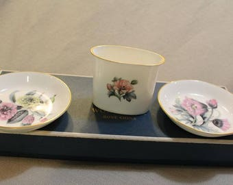 Vintage Mid-Century Royal Worcester Lady's Cigarette Set In Box Made in England Bone China Tobacciana