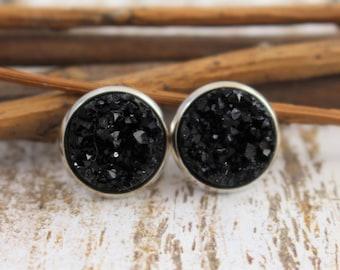 Black Druzy Earrings - Black Stud Earrings - Faux Druzy Earrings - Drusy - 12mm Studs - Bridesmaid Gift - Black and Silver Earrings - 8mm
