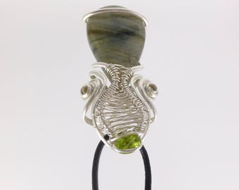 Peridot and Labradorite wire wrapped pendant or brooch.