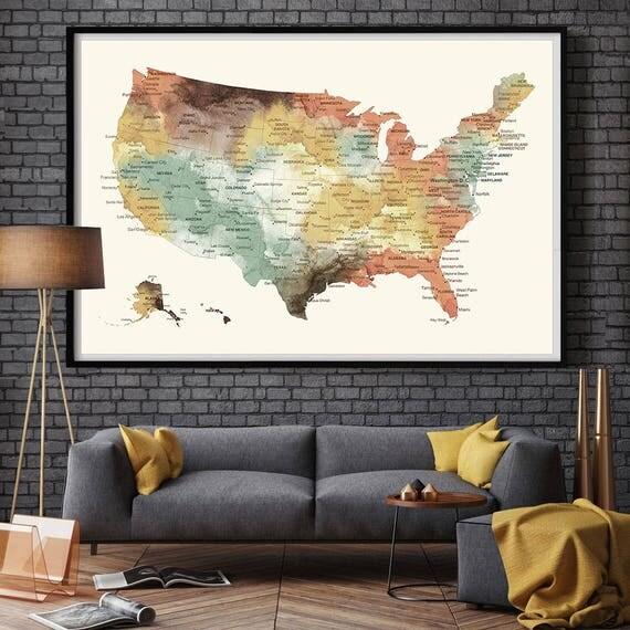 US Map Push Pin Wall Art Poster Print USA States MAP Large - Large us road map poster