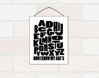 Monochrome Kids Room PRINTABLE, Alphabet Poster, Alphabet Letter Art, Black white kids decor, Monochrome Wall Art, A-Z Now I Know my ABCs