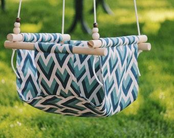 Fabric swing, baby swing, indoor swing, outdoor swing, outdoor furniture, indoor furniture, baby hammock, baby shower gift, wooden swing,