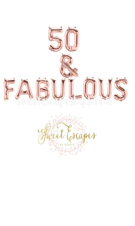 50 Fabulous Ways To Wear Glitter Nails Like A Boss: 50 & Fabulous Rose Gold Balloons~50th Birthday Party