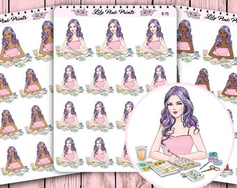 15 Rainbow Hair Girl Planning Stickers Half Sheet R-75/R-78/R-79 - Perfect for Erin Condren Life Planners / Journals / Stickers.