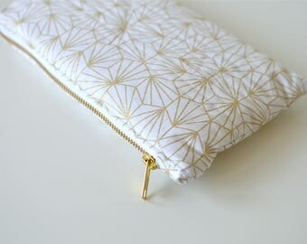 """""""White & Gold Origami"""" quilted and padded pouch"""