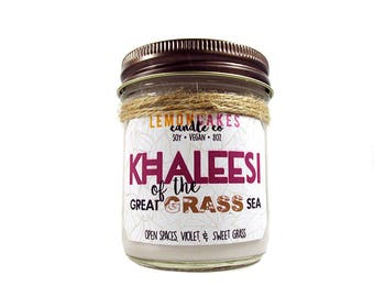Khaleesi of the Great Grass Sea - Book Candle - Book Lover Gift - 8oz Soy Candle - LemonCakes Candle Co - Open Spaces, Violet, & Sweet Grass