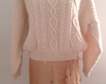 Vintage 1980's Celtic Woollens Hand Knit Cream Aran Cableknit Fisherman's Sweater Sz Large Traditional