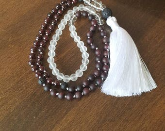 Garnet mala, quartz, onyx and lava stone, 108 beads, gemstones, yoga, meditation