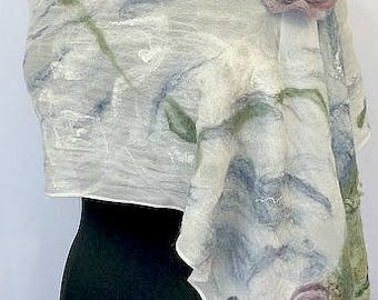 Felted Bridal Wrap, Nuno Scarf, Felt Shawl, Wedding Accessories, Monet Style Felted Garden Wrap, Vintage Style Scarf, GracefulEweFiberArts