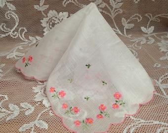 Pink Flower Hanky, Pink Embroidered Hanky, Flower Handkerchief, Scallop Edge Hanky, Pink White Hanky