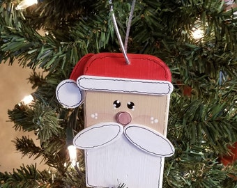 Santa Wood Hanging Ornament