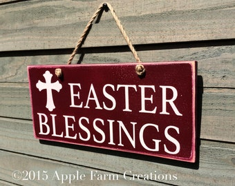 Easter Wood Sign, Easter Blessings, Red, Teal, Distressed Wood Signs, Easter Wood Decorations, Christian Wood Sign, Farmhouse Style, 12x5.5""