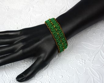 St Patrick's Day Bling Green and Copper Seed Bead Bracelet with Magnetic Clasp