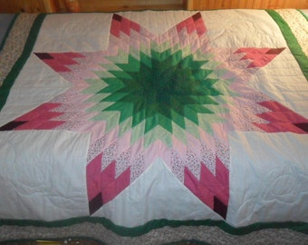 Pink and Green Starburst Quilt