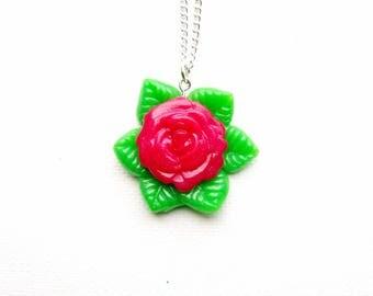 Rose Necklace - Flower Necklace, Stoner Necklace, Rosebud Necklace, Stoner Gifts, Unique Gifts
