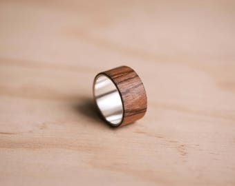 Pepperwood Bentwood Ring with a Sterling Silver Liner - 100% Recycled Sterling Silver