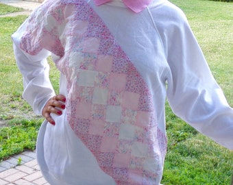Quilted Sweatshirt, Womens Quilted Shirt, Womens Pink & White Sweatshirt Size Lg