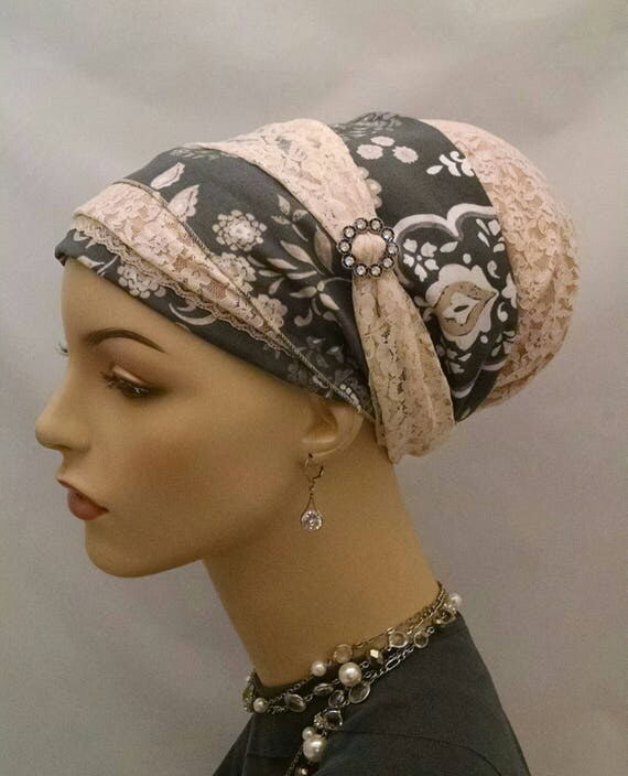 Exquisite lace and cotton sinar tichel, tichels, chemo scarves, head scarf, hair snood
