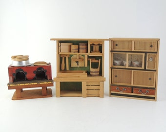 Japanese Vintage Miniature Furnitures, Old style kitchen set, Cooking stove, Cupboard, Sink